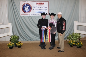 Lauren posing with Bob and Open Horsemanship first place winner